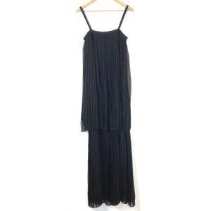 Jenni Kayne Black Pleated Silk Tiered Maxi Dress